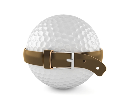 Golf ball with tight belt isolated on white background. 3d illustration