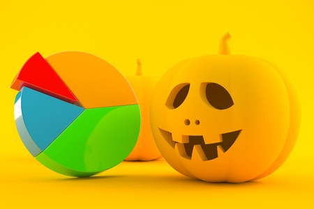 Halloween background with pie chart in orange color. 3d illustration Stock Photo