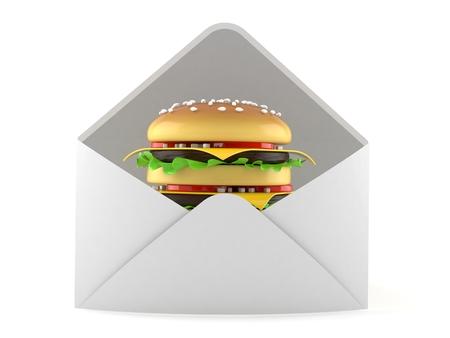 Cheeseburger inside envelope isolated on white background. 3d illustration Stock Photo