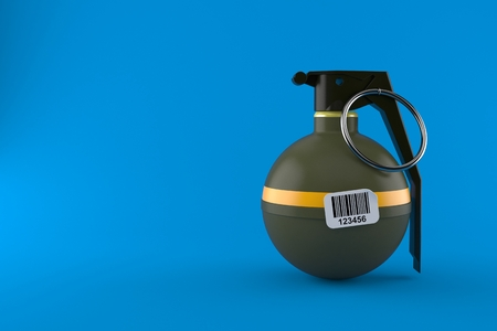 Hand grenade with barcode sticker isolated on blue background. 3d illustration