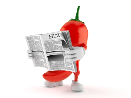 Hot paprika character reading newspaper isolated on white background. 3d illustration