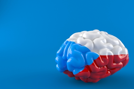Brain with czech flag isolated on blue background. 3d illustration