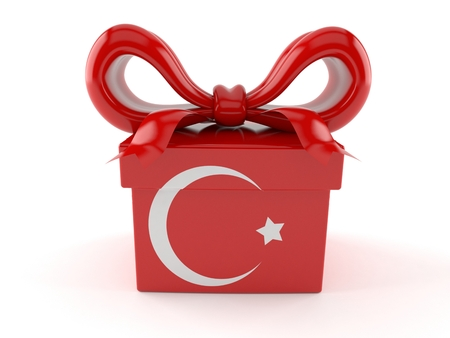 Gift with turkish flag isolated on white background. 3d illustration