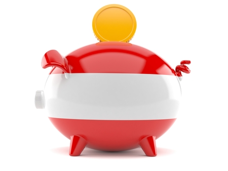 Piggy bank with austrian flag isolated on white background. 3d illustration