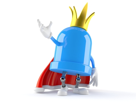 LED character with crown isolated on white background. 3d illustration