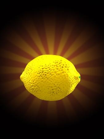Lemon on rays background. 3d illustration Stock Photo