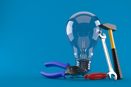 Light bulb with work tools isolated on blue background. 3d illustration Stock Photo