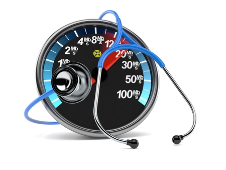 Network meter with stethoscope isolated on white background. 3d illustration Stock Photo