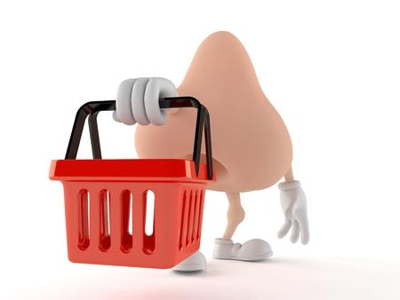 Nose character holding empty shopping basket isolated on white background. 3d illustration Stock Photo