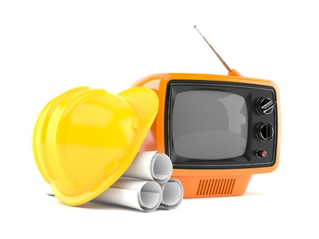 Old TV with blueprints isolated on white background. 3d illustration