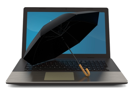 Umbrella with laptop isolated on white background. 3d illustration