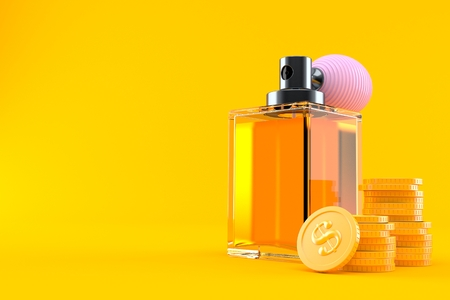 Perfume bottle with stack of coins isolated on orange background. 3d illustration