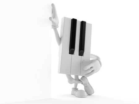 Piano character lean on wall isolated on white background. 3d illustration Stock Photo