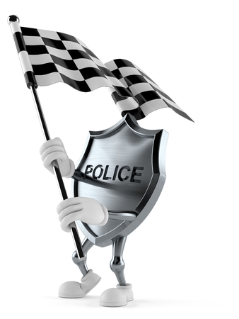 Police badge character waving race flag isolated on white background. 3d illustration