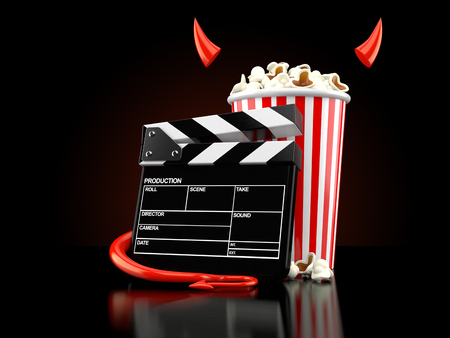 Popcorn and clapboard with devil horns and tail on black background. 3d illustration