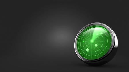 Radar on gray background. 3d illustration