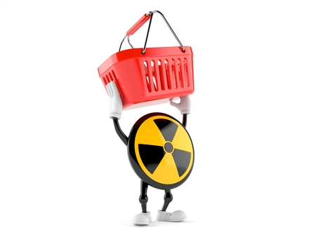 Radioactive character holding shopping basket isolated on white background. 3d illustration