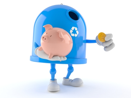 Recycling bin character holding piggy bank isolated on white background. 3d illustration