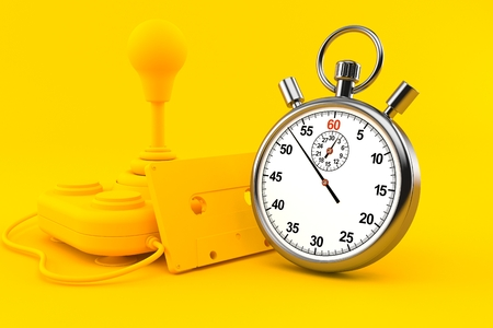 Retro gaming background with stopwatch in orange color. 3d illustration