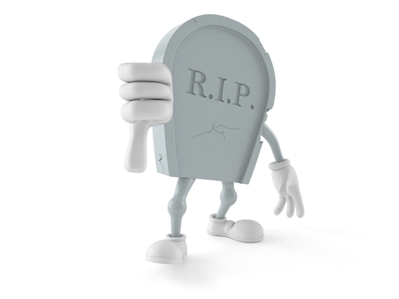 Grave character with thumbs down gesture isolated on white background. 3d illustration
