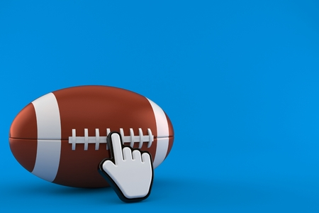 Rugby ball with web cursor isolated on blue background. 3d illustration
