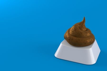 Dung poo on computer key isolated on blue background. 3d illustration