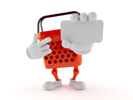 Shopping basket character holding blank business card isolated on white background. 3d illustration