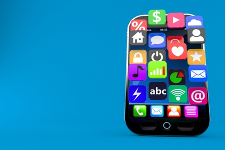 Smart phone with application icons isolated on blue background. 3d illustration