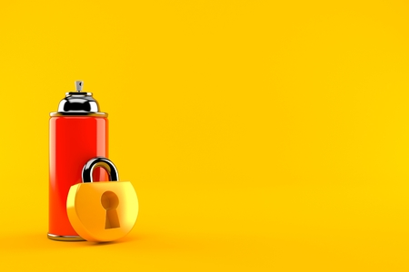 Spray can with padlock isolated on orange background. 3d illustration