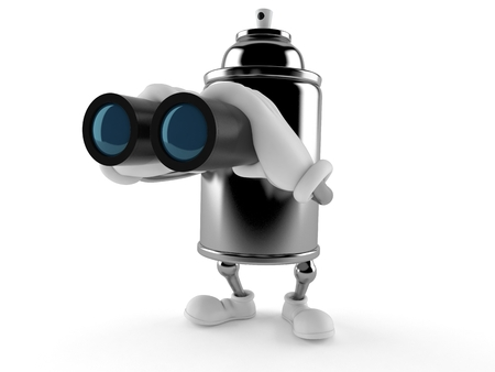 Spray can character looking through binoculars isolated on white background. 3d illustration