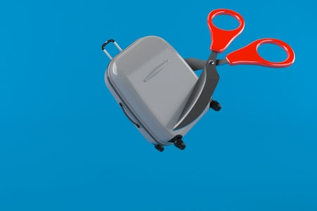 Suitcase with scissors isolated on blue background. 3d illustration Stock Photo