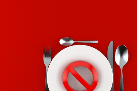 Meal with forbidden symbol isolated on gray background. 3d illustration Stock Photo