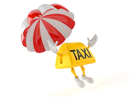 Taxi character with parachute isolated on white background. 3d illustration