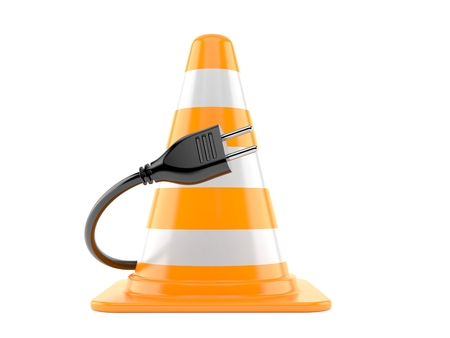 Traffic cone with electric plug isolated on white background. 3d illustration
