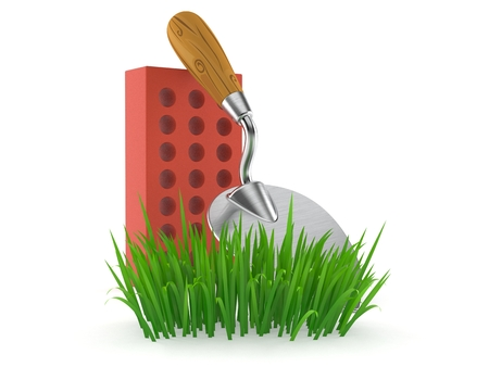 Trowel and bricks on grass isolated on white background. 3d illustration