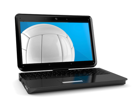 Volleyball ball with laptop isolated on white background. 3d illustration