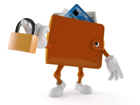 Wallet character holding padlock isolated on white background. 3d illustration