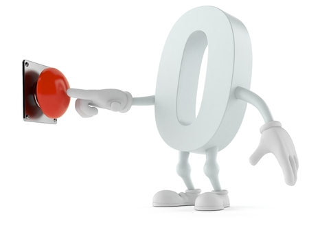 Zero character pushing button isolated on white background. 3d illustration