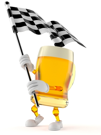Beer character waving race flag isolated on white background. 3d illustration