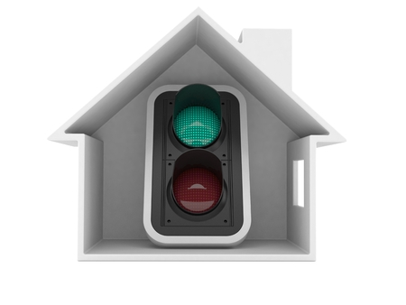 Green traffic light inside house cross-section isolated on white background. 3d illustration Stock Photo