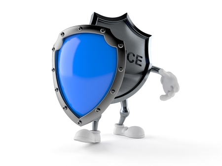 Police badge character with protective shield isolated on white background. 3d illustration