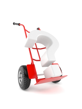 Question mark with hand truck isolated on white background. 3d illustration