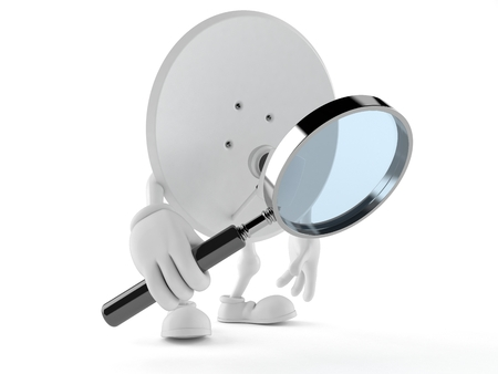 Satellite dish character looking through magnifying glass isolated on white background. 3d illustration Imagens