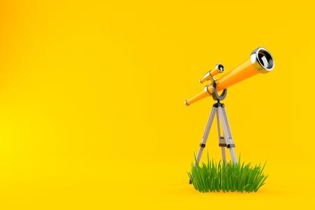 Telescope on grass isolated on orange background. 3d illustration