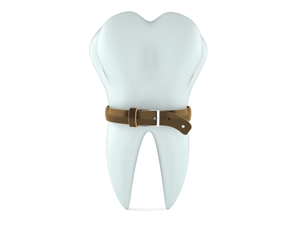 Tooth with tight belt isolated on white background. 3d illustration Stock Photo