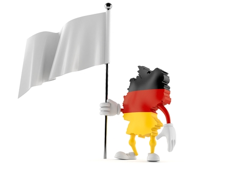 German character holding blank flag isolated on white background. 3d illustration Stock Photo