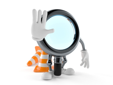 Magnifying glass character with stop gesture isolated on white background. 3d illustration
