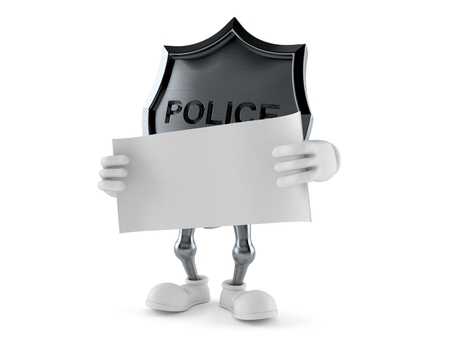 Police badge character holding blank sheet of paper isolated on white background. 3d illustration Stock fotó