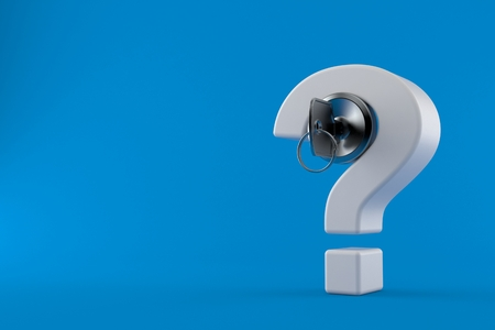 Question mark with door lock isolated on blue background. 3d illustration