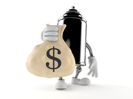 Spray can character holding money bag isolated on white background. 3d illustration